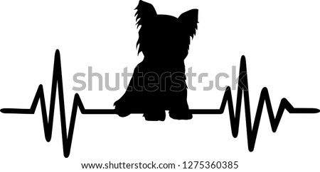 Heartbeat pulse with Yorkie dog silhouette