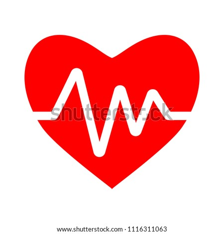 Heartbeat symbol, ecg or ekg heart beat illustration