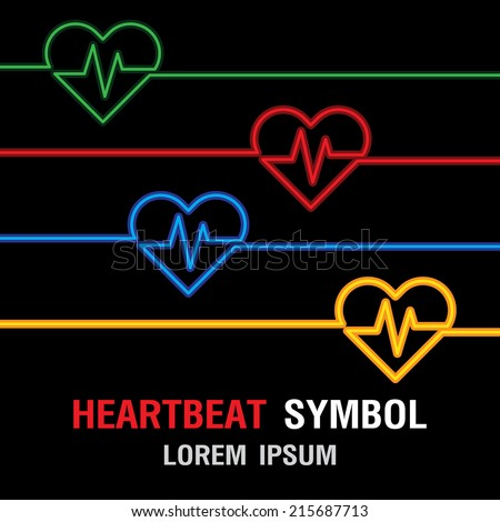 Heartbeat Symbol. Heart Pulse icon. Heart Rate Icon. Vector Illustration