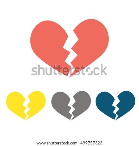 Heartbreak or broken heart or divorce flat icon