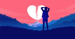 Heartbreak - Young man standing alone in nature with hands on head feeling frustrated, sad and betrayed. Broken heart, breakup and divorce concept. Vector illustration.