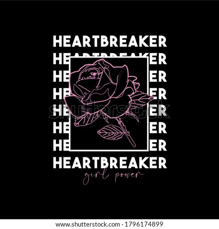 Heartbreaker slogan. Typography graphic print, fashion drawing for t-shirts .Vector Photo stock ©
