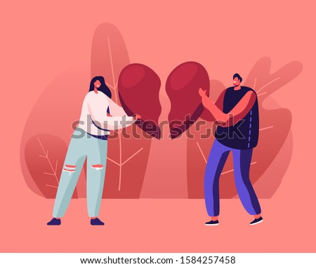 Heartbroken Couple Parting, Divorce. Sad Young Man and Woman Trying to Put Together Parts of Broken Heart. End of Unhappy Relations and Love, Despair Loneliness. Cartoon Flat Vector Illustration