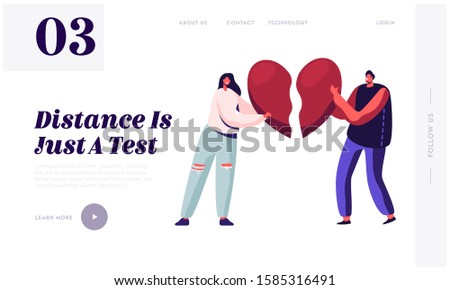 Heartbroken Couple Parting, Divorce Website Landing Page. Sad Young Man and Woman Trying to Put Together Parts of Broken Heart. End of Unhappy Love Web Page Banner. Cartoon Flat Vector Illustration