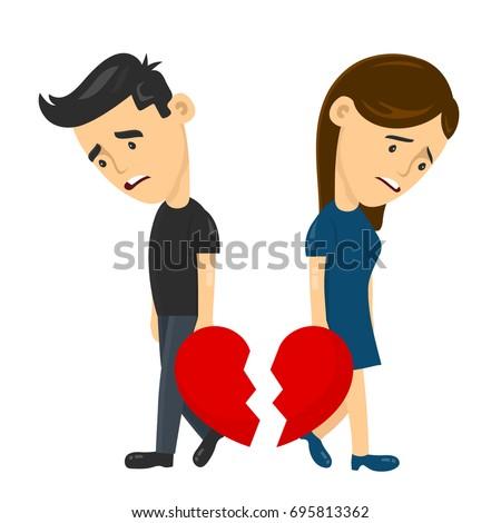 heartbroken sad young man guy and woman girl couple parting divorce. depression vector flat illustration fun character concept. Broken heart love, Despair Loneliness Unhappy Heartbroken.