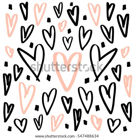 Hearts background made with brush. Expressive romantic hand drawn hearts. Vector Illustration