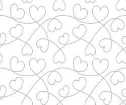 Hearts background to Valentine's Day. White seamless texture with curves lines. Vector