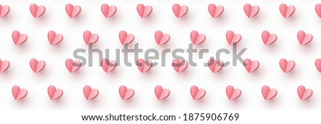 Hearts balloons seamless pattern. Vector paper symbols of love flying on white background for Happy Mother's or Valentine's Day greeting card design