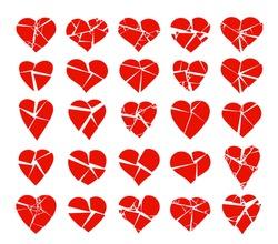 Hearts broken to pieces like a glass vector logos or icons set, broken heart concept, breakup or divorce, heartbreak regret, separated couple, tragic love.