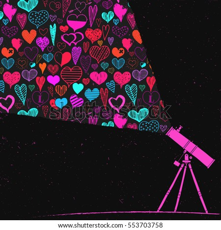 Hearts colorful and observing with a telescope n the night valentines day celebration hand drawing background Foto stock ©