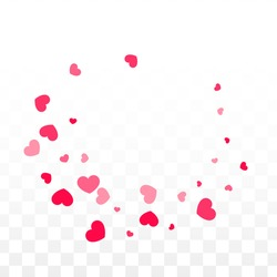 Hearts Confetti Falling Background. St. Valentine's Day pattern. Romantic Scattered Hearts Texture. Vector Illustration. Cute Element of Design for Anniversary.