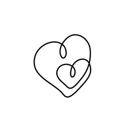 Hearts couple, Love symbol, Valentine's Day, greeting card, continuous line drawing, small tattoo, print for clothes and logo design, logo design, Heart isolated abstract vector illustration