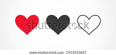 Hearts flat icons. Vector illustration.