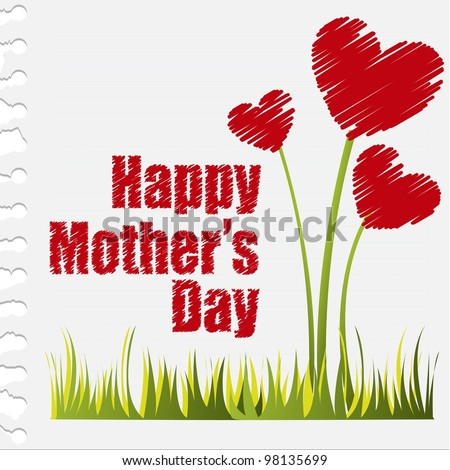 hearts flowers, happy mother day. vector illustration