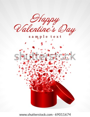 Hearts fly from open gift Valentine's day vector background