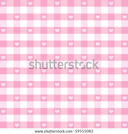 Hearts & Gingham Seamless Pattern. Old fashioned design in pastel pink for baby books, scrapbooks, albums & backgrounds. EPS8 file has pattern swatch that will seamlessly fill any shape. - stock vector