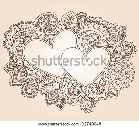 Hearts Henna Mehndi Valentine's Day Doodles Floral Paisley Design Vector Illustration