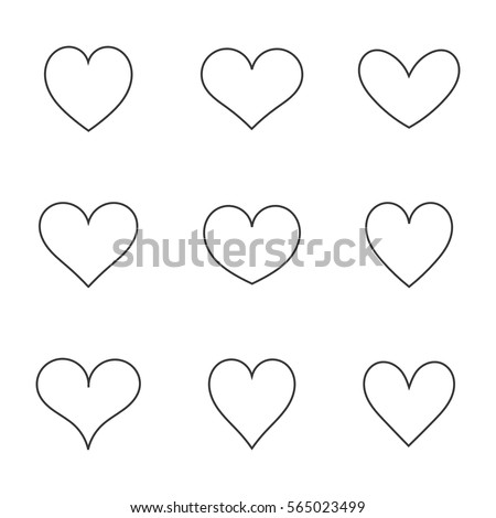 Hearts icons line shapes. Vector illustration