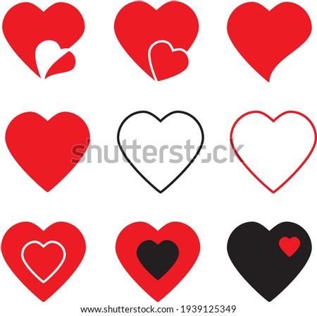 Hearts icons, Love Symbol Icon flat style modern design