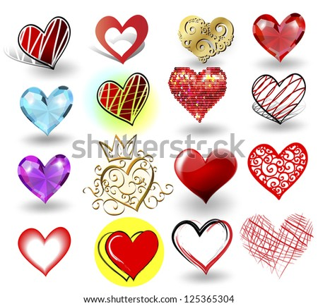 Hearts icons vector illustration set