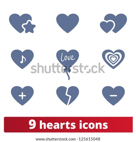 Hearts icons: vector set of love signs