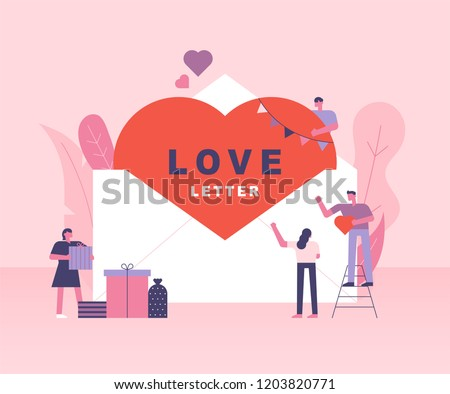 Hearts in large envelopes and small people around them. pink romantic template. flat design style vector graphic illustration various people set.