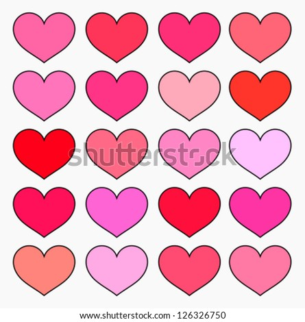 Hearts in various shades of red and pink color. Valentine's illustration