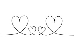 Hearts love symbol, one line drawing. Concept of family members. Metaphor of care, friendship, romance, romantic, and minimalism.