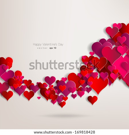 Hearts on abstract love background.Be my valentine.Love romantic messages with hearts.February 14.Valentines day card,banner.Global love day, may 1.Three dimensional red hearts shapes.