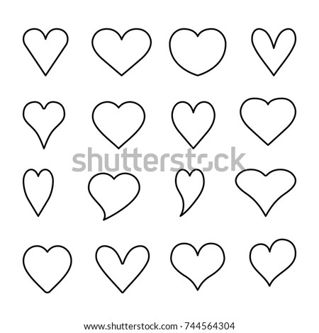 Hearts outline icons collection isolated on white background, vector illustration