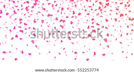 Hearts petals falling on white background for Saint Valentine Day greeting card design. Flower pink petals in shape of heart confetti #552253774