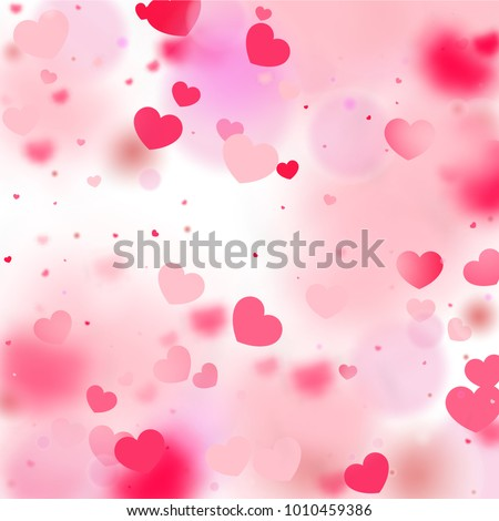 Hearts Random Background. St. Valentine's Day.   Romantic Scattered Hearts Wallpaper. Love. Light, Bokhe, Magic Clouds, Moments.   Element of Design for Cards, Banners, Posters, Flyers.