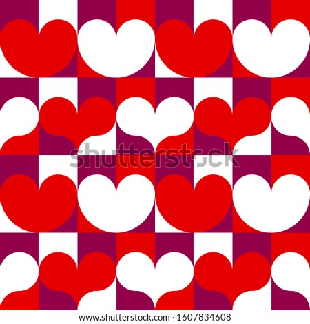 Hearts seamless pattern for Happy valentines day. Romantic background for 14 February in abstract geometric style.