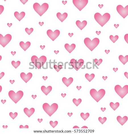 Hearts Seamless Pattern Isolated On White Background Design