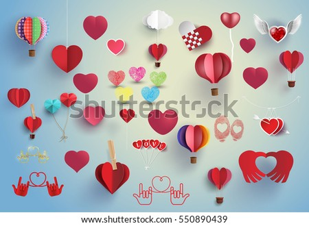 hearts set for love and valentine design,paper art and craft. #550890439