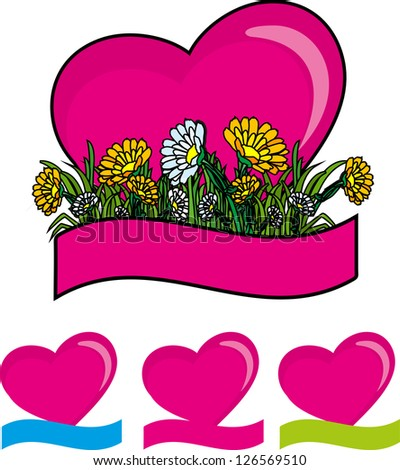 Hearts set for the holiday of love with flowers and banner valentine