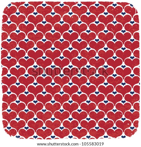 Hearts symbols ornament in american national colors. Abstract vector background, EPS 10.