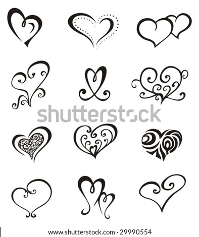 Love Heart Tattoo on Hearts      Tattoo Set Stock Vector 29990554   Shutterstock