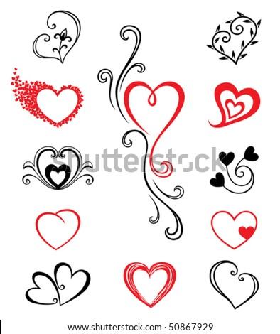 Free Tattoos Pictures on Hearts     Tattoo Set 2 Stock Vector 50867929   Shutterstock