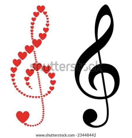 hearts violin clef