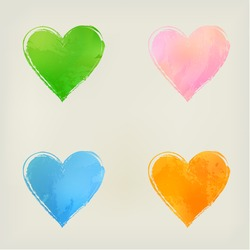 Hearts. Watercolor hearts shape splashes, green, blue, orange, pink.