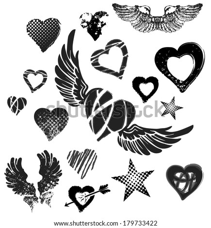 hearts  wings and stars on