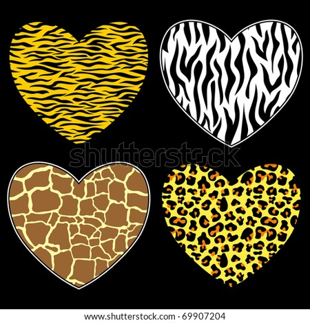 hearts with animal print in vector format, individual objects - stock ...