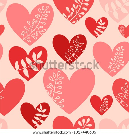 Hearts with leaves. Valentines day background. Seamless vector pattern with hearts.