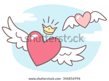 hearts with wings  sky with