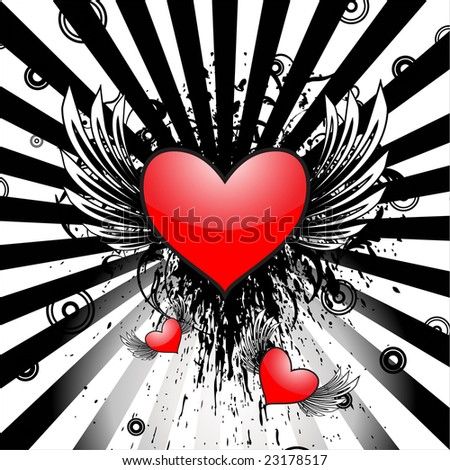 Hearts with wings vector