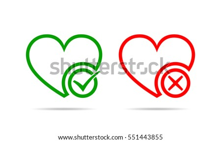 Hearts with Yes and No check marks. Yes and No check marks. Vector illustration. Red and green hearts with check marks on white background.