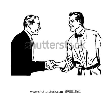 Hearty Handshake - Retro Clip Art