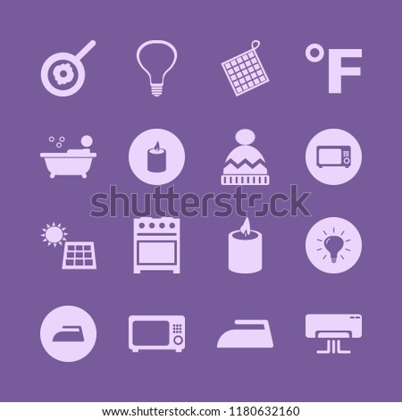 heat icon. heat vector icons set fahrenheit, air conditioner, oven mitts and bulb