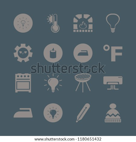 heat icon. heat vector icons set iron, candle, fahrenheit and temperature sun